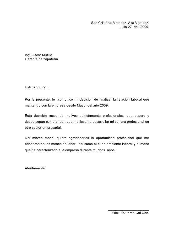 cartas de renuncia
